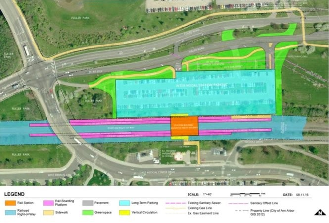 The preferred option for a new Amtrak station in Ann Arbor included in an environmental assessment report publicly released by the city on Sept. 18, 2017.