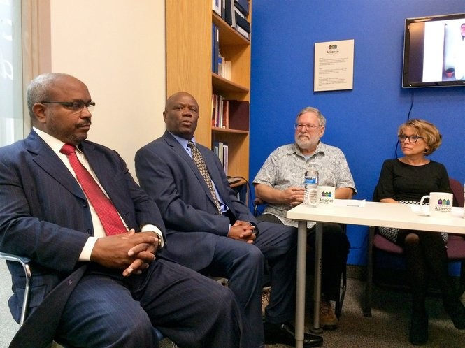 (From left to right) Washtenaw County Commissioner Ricky Jefferson, state Rep. Ronnie Peterson, Ypsilanti City Councilman Peter Murdock and Community Alliance Executive Director Kathy Grant participate in a panel discussion on Medicaid cuts on Monday, Oct. 16, 2017, in Ypsilanti.