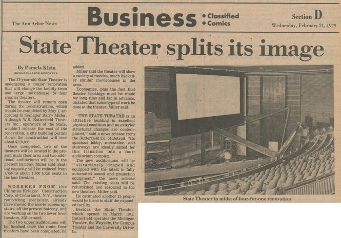 A history of Ann Arbor's iconic State Theatre going back to