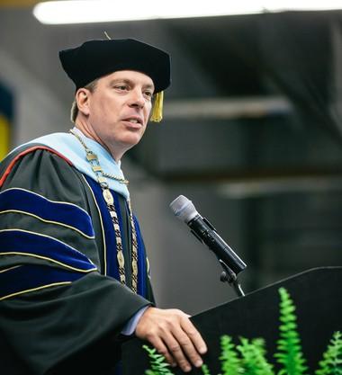 Spring Arbor University President Brent Ellis speaks during commencement ceremonies on May 16, 2018. (Courtesy Spring Arbor University)