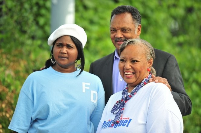 Christina Montague, right, with longtime friend The Rev. Jesse Jackson and her daughter Teesha Montague during a campaign event in Ann Arbor in 2012.