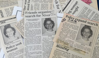 Newspaper clippings and police bulletins from the initial coverage of Tammy Niver's disappearance in 1993. (J. Scott Park | MLive.com)