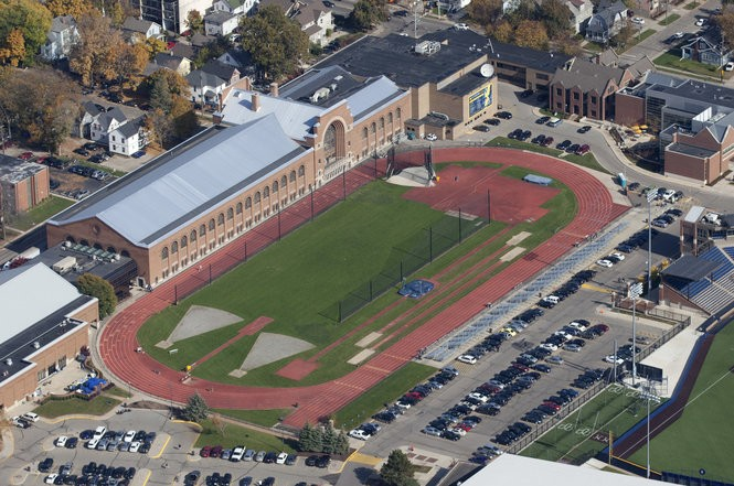 A view of Ferry Field and the Donald B. Canham Natatorium at the University of Michigan in Ann Arbor on Oct. 23, 2014.