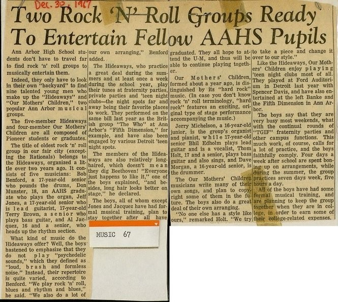 A Dec. 30, 1967 article in The Ann Arbor News makes mention of The Hideaways.