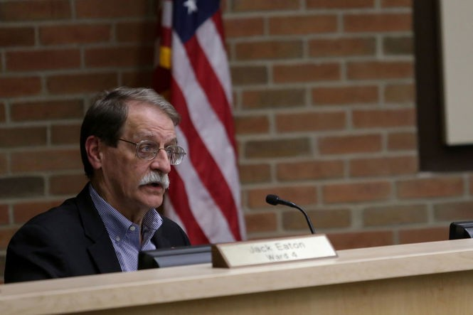 Council Member Jack Eaton, D-4th Ward, speaks during an Ann Arbor City Council meeting on Monday, Oct. 15, 2018. (Nikos Frazier | MLive.com)