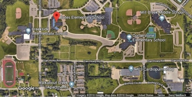 The map shows the area around the intersection of Dan Hoey and Baker roads in Dexter. The Washtenaw County Road Commission is building a roundabout at the intersection this summer, and Dexter Community Schools would like to add a driveway to provide access to the football stadium. (Courtesy of Google maps)