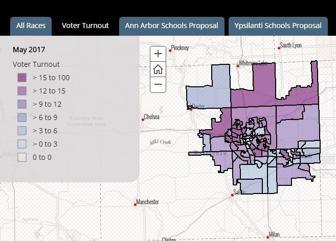 The map shows the percentage voter turnout at each precinct for the May 2, 2017, special election. Ann Arbor Public Schools and Ypsilanti Community Schools had proposals on the ballot. (Image courtesy of Washtenaw County)