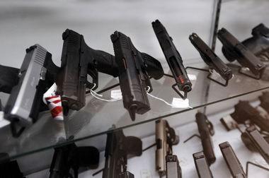 Handguns on display at a local gun store