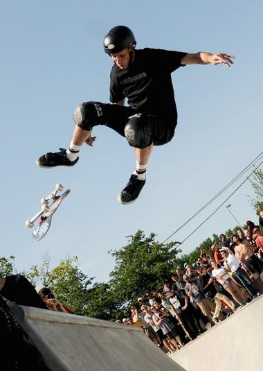 Legendary skateboarder Tony Hawk skates the new Ann Arbor Skatepark in Veterans Memorial Park during its grand opening Saturday, June 21.