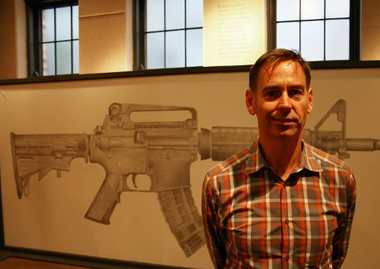 """""""Erase"""" by Greg Bokor is one of 24 works in Fountain Street Church's ArtPrize 2013 show. The audience-participation installation inspired by gun violence, invites the viewer to help erase the pencil drawing of an AR-15 assault rifle. (Photo by Mike Grass)."""