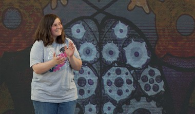 """City High Middle School student Katelyn Sheneman reacts after winning the SmartArt competition for her piece """"What Makes the World Go 'Round"""" during ArtPrize Final 20 Announcement at Rosa Parks Circle in Grand Rapids on Sunday, Oct. 1, 2017."""