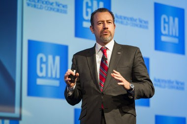 General Motors President Dan Ammann addresses the gathering Wednesday, January 15, 2014 at the Automotive News World Congress in Detroit, Michigan. This is Ammann's first day as President of the company. (Photo by Jeffrey Sauger for General Motors)