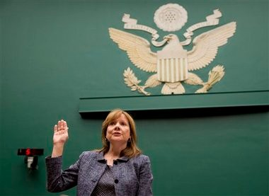 General Motors CEO Mary Barra is sworn in on Capitol Hill in Washington, Tuesday, April 1, 2014, prior to testifying before the House Energy and Commerce subcommittee on Oversight and Investigation. The committee is looking for answers from Barra about safety defects and mishandled recall of 2.6 million small cars with a faulty ignition switch that'ÂÂs been linked to 13 deaths and dozen of crashes. (AP Photo/Evan Vucci)