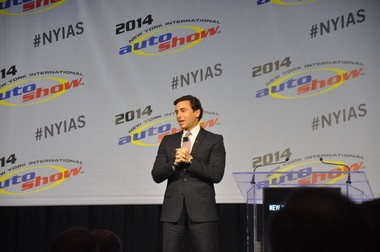 Ford Motor Co. Chief Operating Officer Mark Fields speaks April 16 during a keynote speech at the 2014 New York International Auto Show.