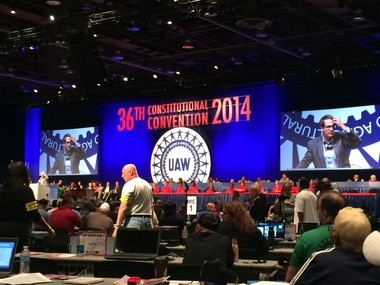 UAW President Bob King speaks June 3, 2014 during a debate on raising union members' dues 25 percent at the 36th Constitutional Convention at Cobo Center in Detroit.