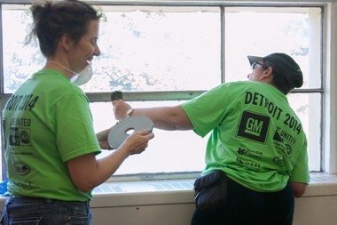 Volunteers inside Cody High School for Life Remodeled's 2014 Build Week.