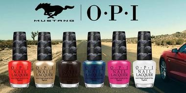 The OPI Ford Mustang collection features six Mustang-inspired shades: Race Red, 50 Years of Style, Queen of the Road, Girls Love Ponies, Angel with a Leadfoot (white) and The Sky's My Limit (blue).
