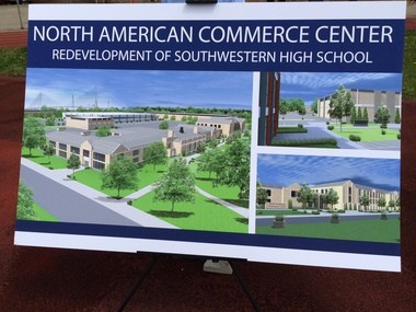 A rendering of plans by Sakthi Automotive Group and ProVision for the redevelopment of Southwestern High School in Detroit.
