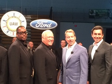 From left: UAW Vice President Jimmy Settles, UAW President Dennis Williams, Ford Motor Co. Executive Chairman Bill Ford and Ford Motor Co. President and CEO Mark Fields kick of 2015 contract negotiations on Thursday, July 23 in Detroit.