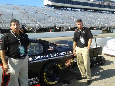 Adam Wynsma, right, and his father, Tim Wynsma, attended this past Saturday's NASCAR K&N race in New Hampshire.