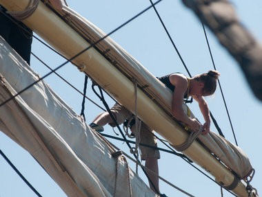 Halley Finkel aloft on the Sorlandet on Wednesday, July 10.
