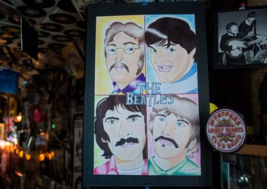 A drawing made by Kendrick Grier, a friend of Brad Wilderman, on display at Beatles and Beans Coffee Emporium.