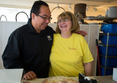 "John ""Gonzo"" Gonzalez and Pat Schnell chat behind the counter of Rosie's Pies & Bakery in Kawkawlin Township during the search for Michigan's Best Pie Friday, Nov. 14. (Yfat Yossifor 