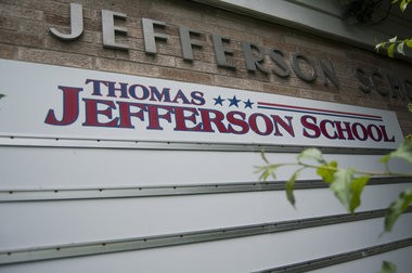 The Thomas Jefferson Elementary School sign on display on the side of the school at 325 Park Ave. in Bay City. The school has been closed since 2006.