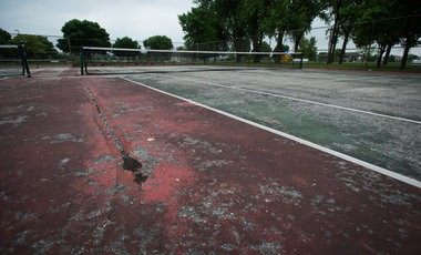 Veterans Memorial Park in Bay City's West Side has four tennis courts. Bay Community Tennis Association members propose to build tennis courts at the Thomas Jefferson School site.