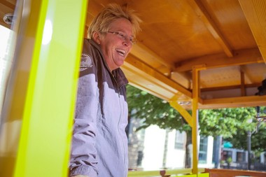 Ashley Anderson runs the Sunrise Pedal Trolley in Bay City.