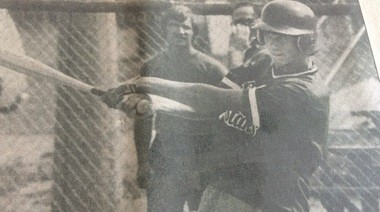 Kevin Kolb takes his cuts during batting practice for the Bay County Pony League stars in 1983. (Dick VanNostrand | Bay City Times)