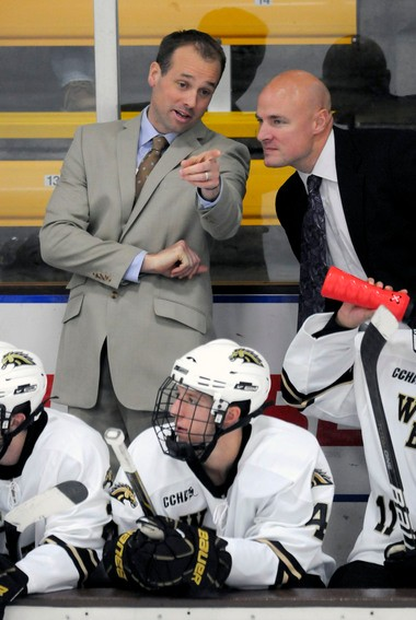 Western Michigan assistant coach Pat Ferschweiler (right) talks with former head coach Jeff Blashill during a game in 2010. Ferschweiler played at WMU from 1990-93 and is now in his third year as an assistant coach.