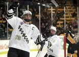 Western Michigan's Chase Balisy celebrates his second period goal against Colorado College on Saturday, Nov. 2, 2013, at Lawson Ice Arena.