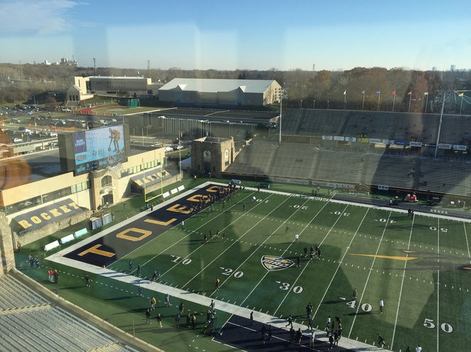 A pregame look at Glass Bowl Stadium from the press box before Western Michigan faces Toledo in the 2017 regular season finale. (Patrick Nothaft | MLive.com)