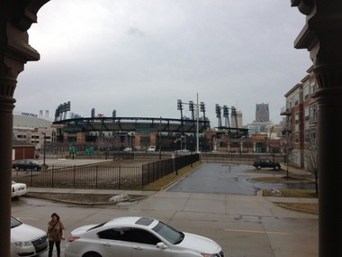 The view of Comerica Park from the front steps of 97 Winder.
