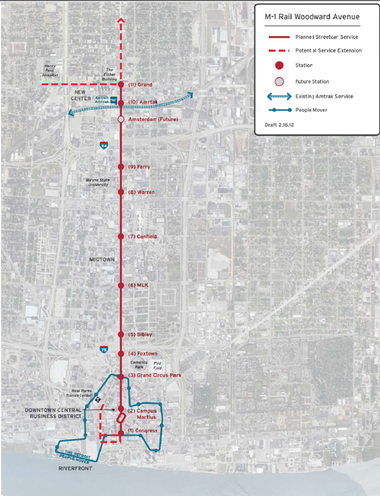 A look at proposed stops along Detroit's future M1 Rail line ... M Rail Map on illinois state rail map, usa rail map, texas rail map, detroit light rail map, new jersey rail map, china rail map, dallas rail map, nj rail map, funding m 1 rail map, woodward light rail map, france rail map, spain rail map,