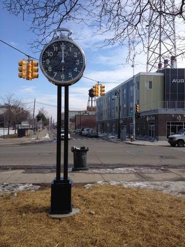 Graffiti tagged Friday at the base of this 13-foot Shinola clock at Cass and Canfield in Detroit was already removed by Saturday