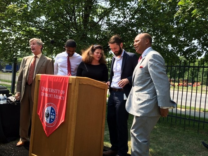 (From left to right): Rip Rapson, Kresge Foundation, Gaston Nash, Alicia Biggers-Gaddies, Michael Forsyth, DEGC, and Antoine Garibaldi pose for a photo on the University of Detroit Mercy McNichols campus on Monday, Aug. 31 after the announcement of the Live6 Alliance.