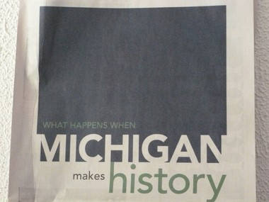A snapshot of the MEDC's full-page ad in the Wall Street Journal touting Michigan's new right-to-work law as a positive move for the state's business climate.