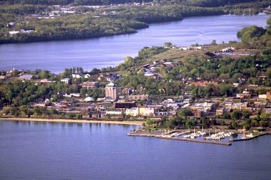 An aerial view of downtown Traverse City.
