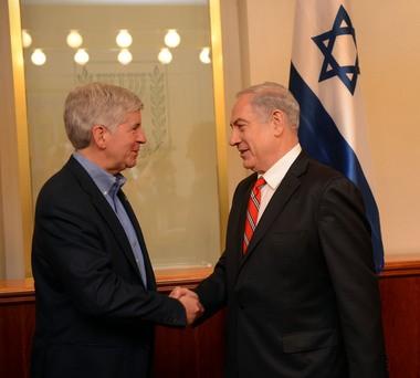 Gov. Rick Snyder, left, meets Israel Prime Minister Benjamin Netanyahu in Tel Aviv during his trip to Israel.