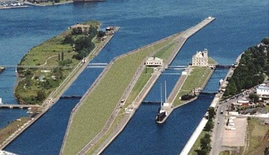 A rendering showing what a new Poe-sized lock would look like in place of the Sabin and Davis locks at the Soo Locks complex in Sault Ste. Marie.