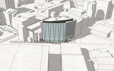 A preliminary rendering shows how CWD envisions a potential development on a vacant lot near Van Andel Arena on the northwestern corner of Fulton Street and Ionia Avenue in downtown Grand Rapids.