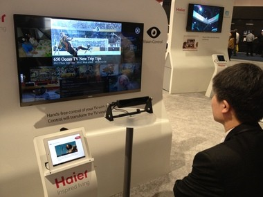 Haier introduced an eye-tracking TV prototype at the 2013 International Consumer Electronics Show in Las Vegas.