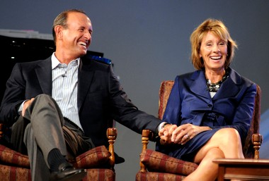 """Dick and Betsy DeVos, shown here in a 2010 photograph, enjoy their retreat on a Florida island, according to the Wall Street Journal's 'Mansion"""" section."""