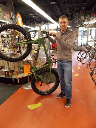 Velo City Cycles new owner Brad White with Salsa fat bike