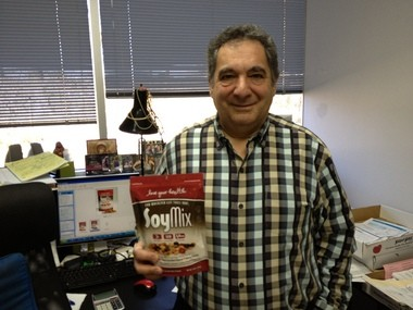 "Peter Assaly, president of ""Love Your Health, LLC"" in his ""war room"" with his latest snack product, ""SoyMix."""
