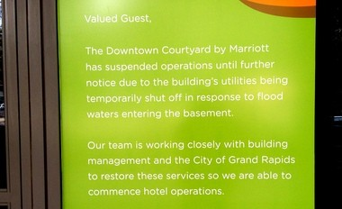 Visitors to the Downtown Courtyard by Marriott have been greeted with an apology since April 21