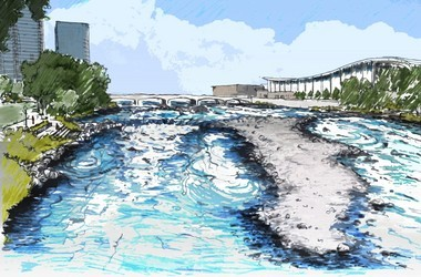 A rendering of what the Grand River will look like if dams are removed and the riverbed is restored.