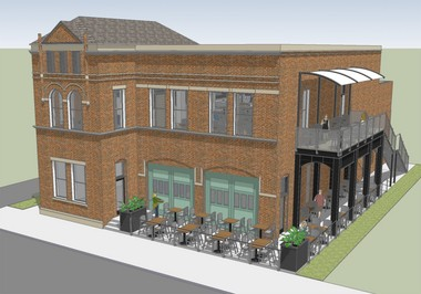 A rendering of expansion plans for Mitten Brewing Co.